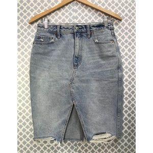 Abercrombie & Fitch Denim Distressed Skirt 28